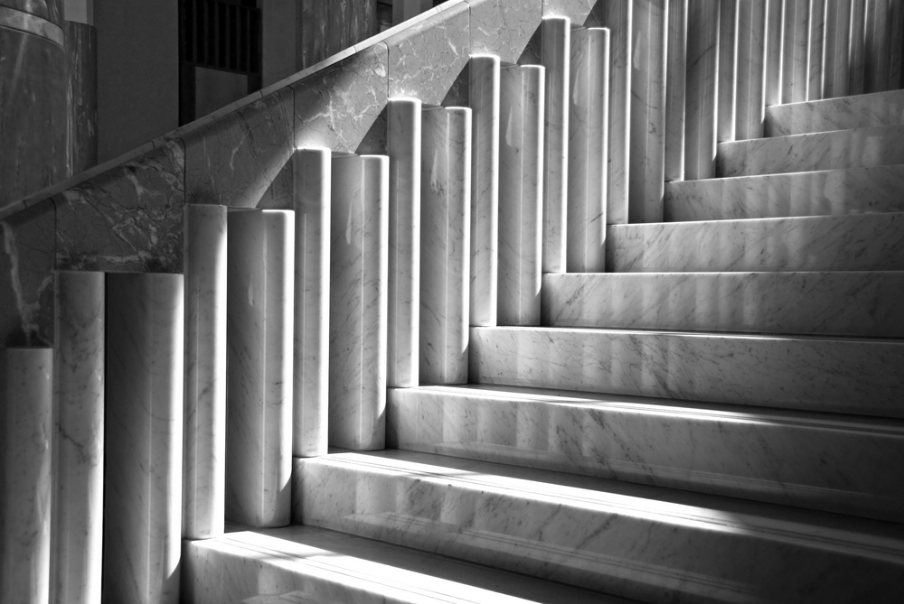 Marble staircase bathed in light and shadow in Parliament House, Canberra, ACT, Australia